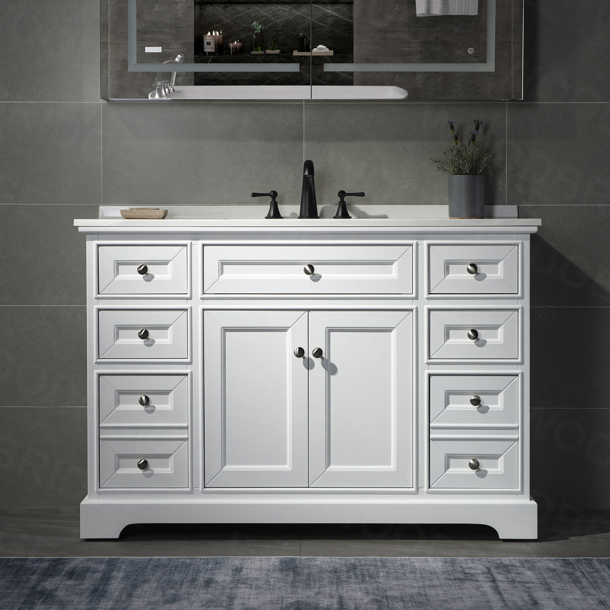 ᐅ London 48 Inch Solid Wood Bathroom Vanity With White Solid Surface Vanity Top 8 Faucet Holes 2 Soft Closing Doors And 6 Full Extension Solid Wood Dovetail Drawers White Vanity Color Woodbridge