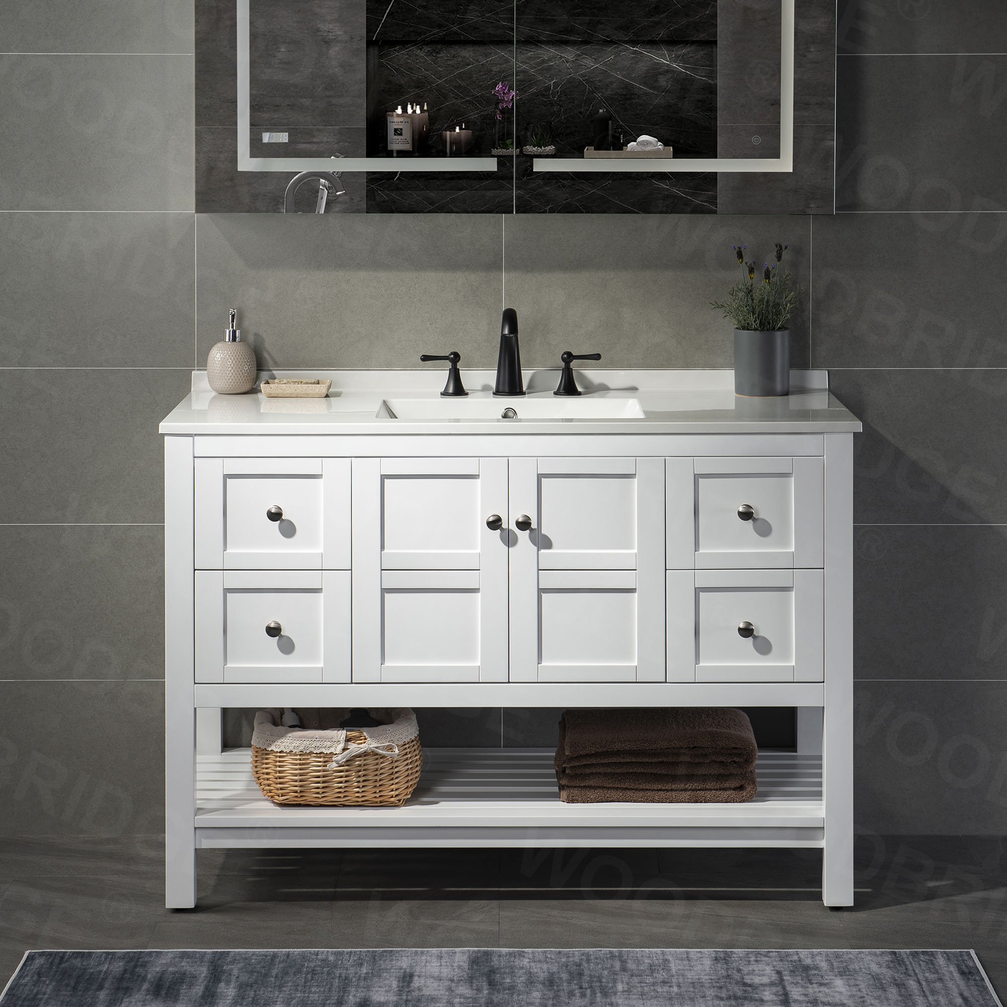 ᐅ Sydney 48 Inch Solid Wood Bathroom Vanity With White Solid Surface Vanity Top 8 Faucet Holes 2 Soft Closing Doors And 4 Full Extension Solid Wood Dovetail Drawers White Vanity Color Woodbridge