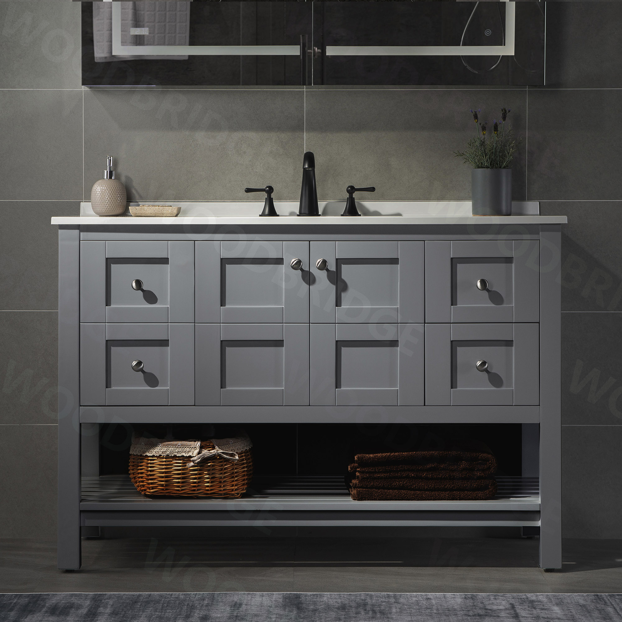 ᐅ Sydney 48 Inch Solid Wood Bathroom Vanity With White Solid Surface Vanity Top 8 Faucet Holes 2 Soft Closing Doors And 4 Full Extension Solid Wood Dovetail Drawers Grey Vanity Color Woodbridge