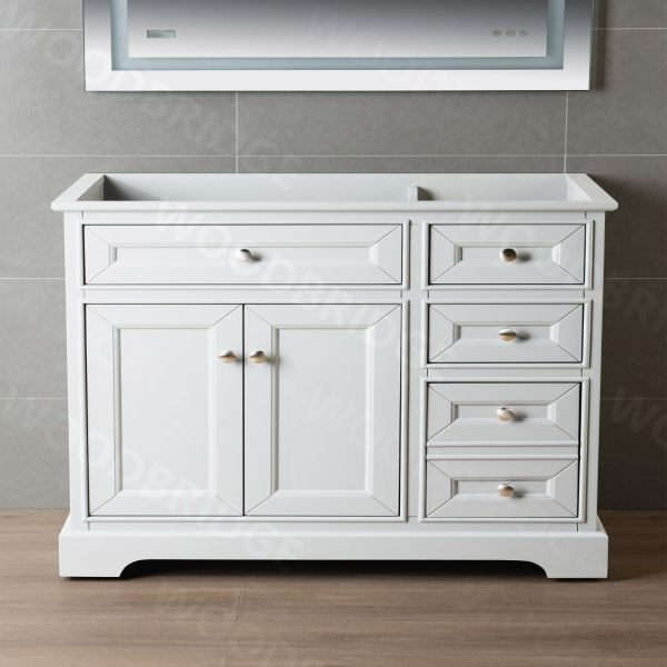 ᐅ London 42 Inch Solid Wood Bathroom Vanity Base Only 2 Soft Closing Doors And 3 Full Extension Solid Wood Dovetail Drawers 3 Drawers On The Right White Vanity Color Woodbridge