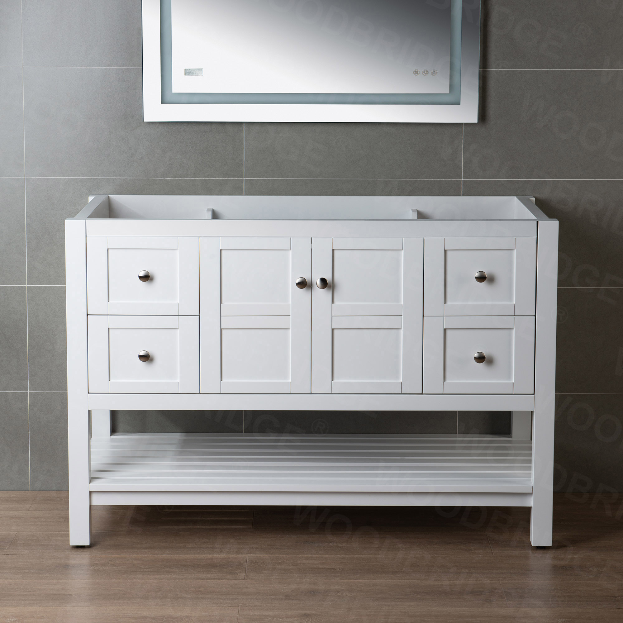 ᐅ Sydney 48 Inch Solid Wood Bathroom Vanity Base Only 2 Soft Closing Doors And 4 Full Extension Solid Wood Dovetail Drawers White Vanity Color Woodbridge