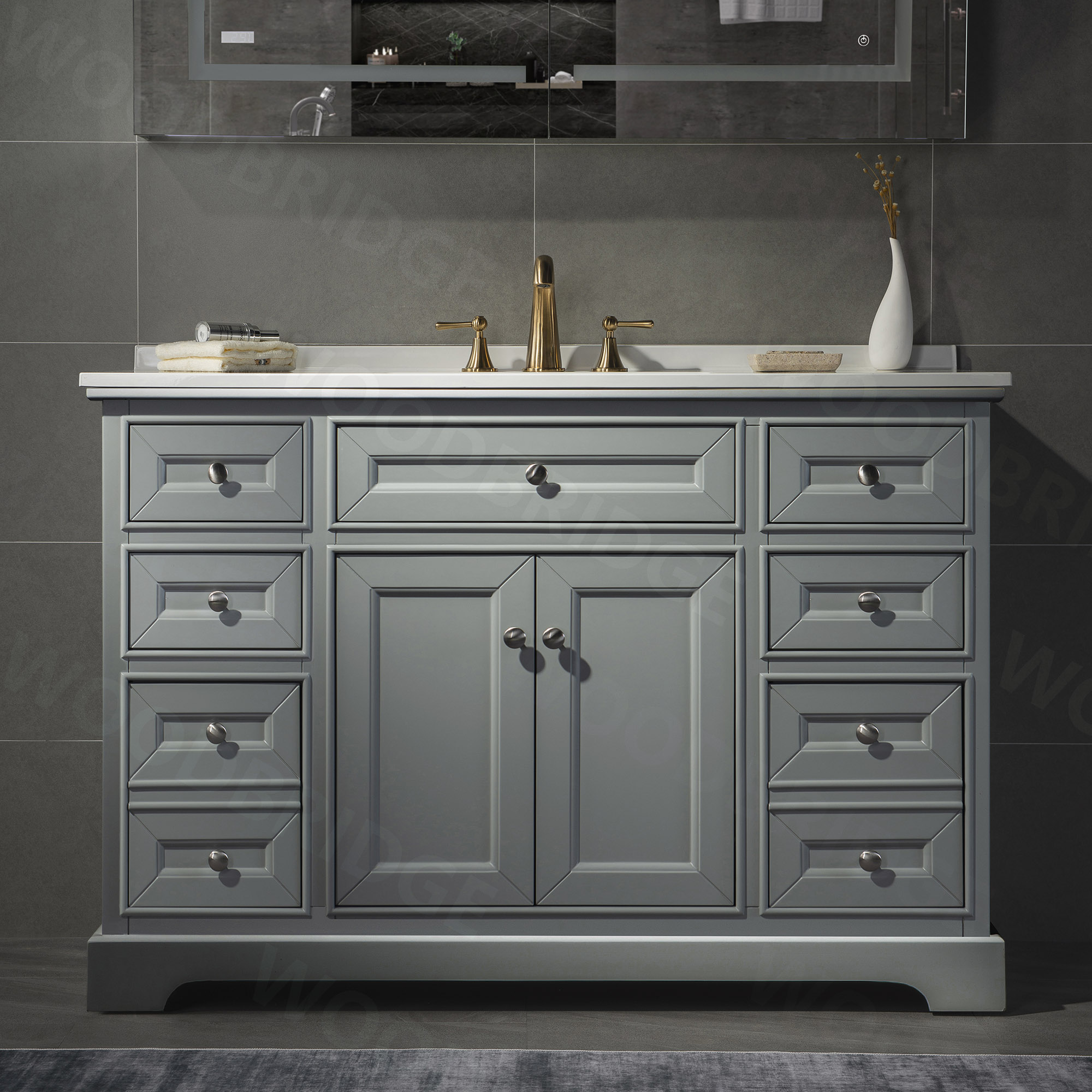 ᐅ London 48 Inch Solid Wood Bathroom Vanity With White Solid Surface Vanity Top 8 Faucet Holes 2 Soft Closing Doors And 6 Full Extension Solid Wood Dovetail Drawers Grey Vanity Color Woodbridge
