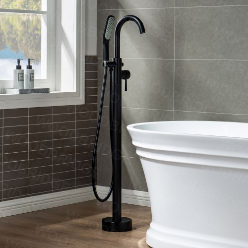 WOODBRIDGEE Contemporary Single Handle Floor Mount Freestanding Tub Filler Faucet with Hand Shower in (Matte Black) Finish,F0006MBSQ