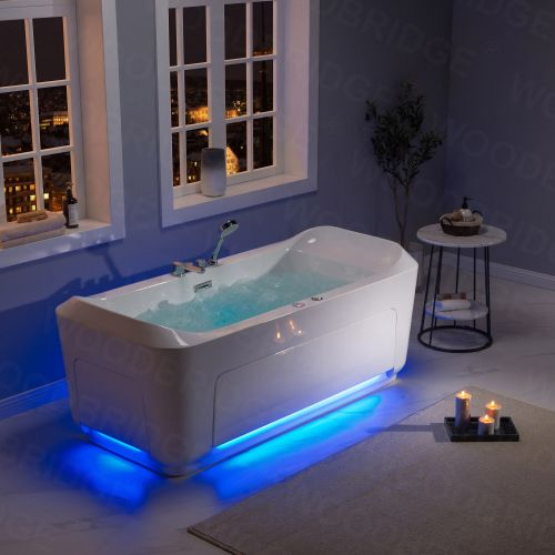 1 Person Freestanding Massage Hydrotherapy Bathtub Tub Hot Tub Spa, with Inline Heater. BTS-0092
