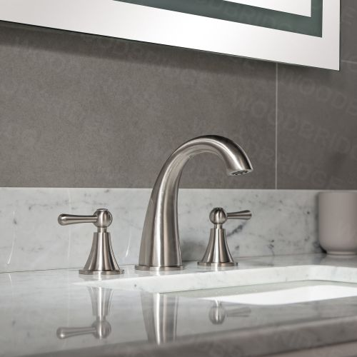 "WOODBRIDGE WB803006BN 8"" Widespread  3-Hole Lavatory Faucet with Lever Handle, Brushed Nickel"