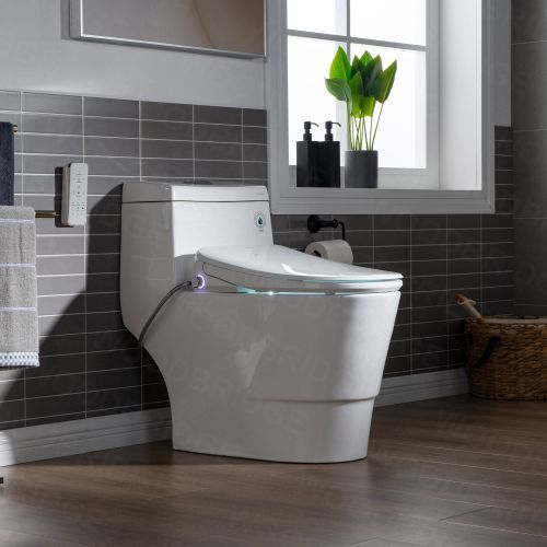 WOODBRIDGE T-0041 Elongated one Piece toilet with Smart Bidet Seat, Electronic Advanced Self Cleaning, Soft Close Lid, Adjustable Water Temperature, LED Nightlight, Heated Seat, Warm air Dryer. WHITE