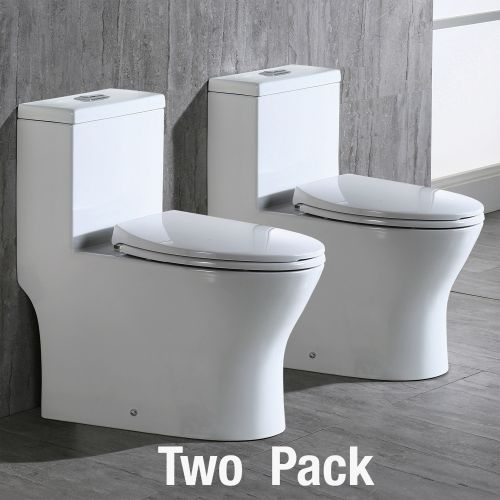 WOODBRIDGEBath T-0031 WOODBRIDGE T-0031 Short Compact Tiny One Piece Toilet with Soft Closing Seat, Small Toilet(2 -Pack)