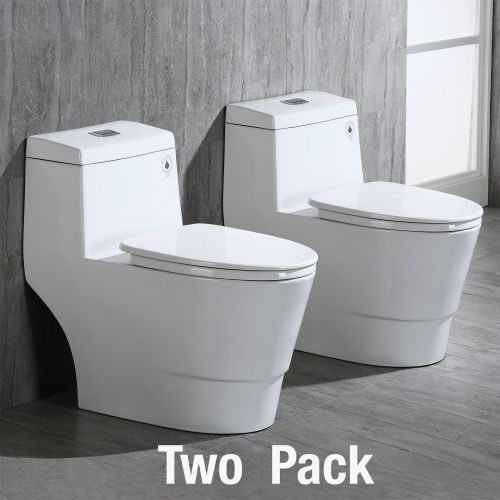 WOODBRIDGEBath T-0019, Dual Flush Elongated One Piece Toilet with Soft Closing Seat, Comfort Height, Water Sense, High-Efficiency, T-0019 Rectangle Button (2 -Pack)