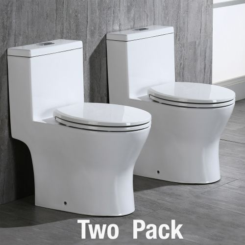 WOODBRIDGE Moder Design, Elongated One piece Toilet Dual flush 1.0/1.6 GPF,with Soft Closing Seat, white, T-0032(2 -Pack)