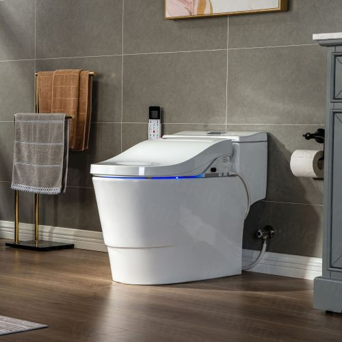 WOODBRIDGE Toilet & Bidet Luxury Elongated One Piece Advanced Smart Seat with Temperature Controlled Wash Functions and Air Dryer, Toilet with Bidet. T-0737, Bidet & Toilet