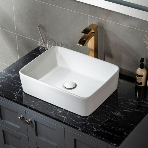"WOODBRIDGE V2901WT 19 1/4"" x 15"" Rectangle Vessel Sink without Overflow in High Gloss White"