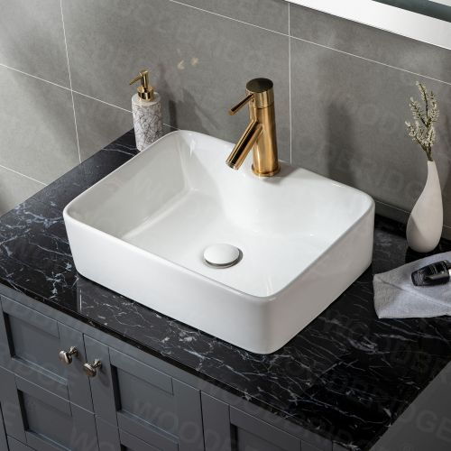 "WOODBRIDGE V2902WT 19 1/4"" x 15"" Rectangle Vessel Sink without Overflow in High Gloss White"