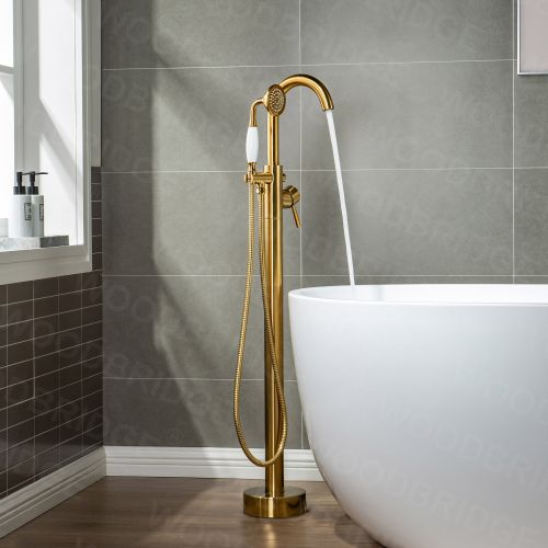 WOODBRIDGE F0007BGVT Fusion Single Handle Floor Mount Freestanding Tub Filler Faucet with Telephone Hand shower in Brushed Gold Finish.